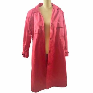 London Fog Long Coral Trench Coat Jacket Size 10P